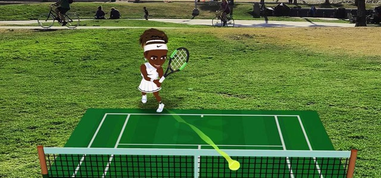 Challenge Serena Williams in Augmented Reality Tennis via Snapchat's Interactive 3D Bitmoji