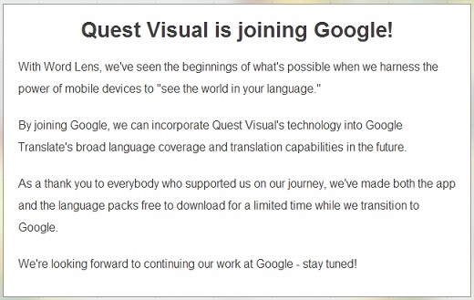 Google Just Acquired Instant Translator Word Lens—All Language Packs Free for a Limited Time