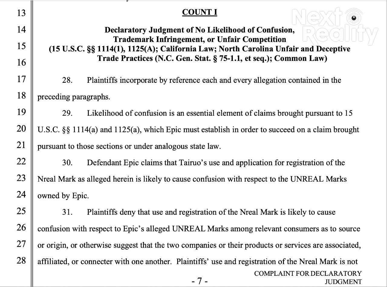 Nreal Fires Back Legal Countersuit at Epic Games Over Naming Dispute