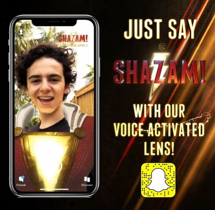 Snapchat Gives Movie Fans Augmented Reality Superpowers with Voice-Activated 'Shazam!' Lens