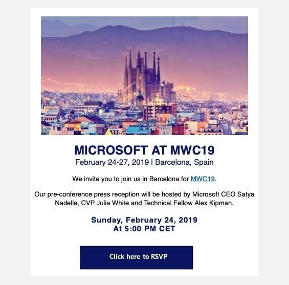 Microsoft Mobile World Congress Invites Notes on HoloLens 2 Release
