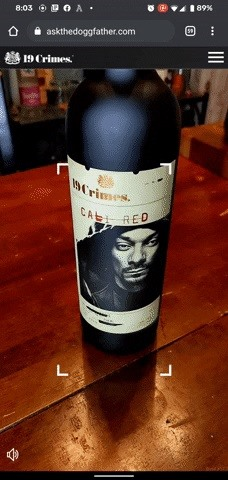 Snoop Dogg's Cali Red Wine pours another glass of AR through 8th Wall's WebAR