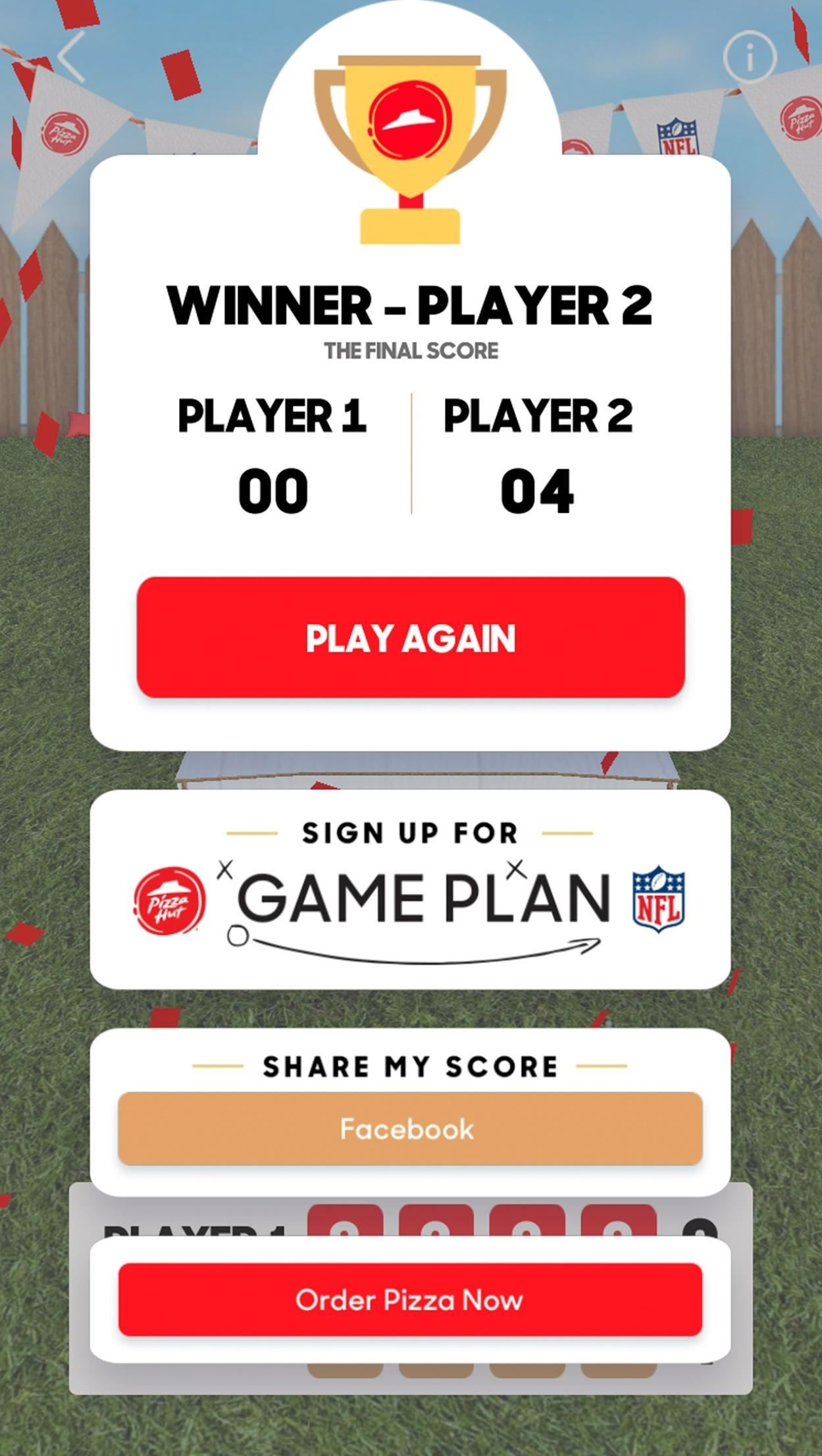 Pizza Hut Teams Up with NFL for Scannable Pizza Boxes & Augmented Reality Beanbag Game