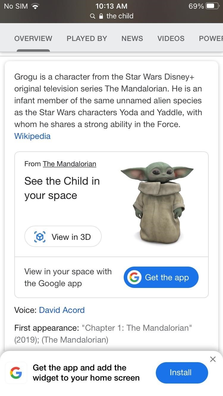 Welcome Baby Yoda into Your Personal Space with Google Search AR